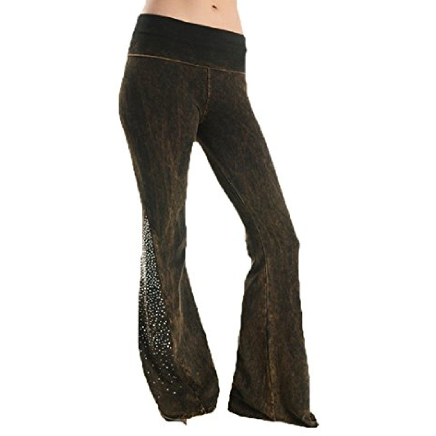 b945b14e02029 T-Party Mineral Wash Rhinestone Fold Over Waist Yoga Pants New * Click  image to review more details. (This is an affiliate link) #Pants