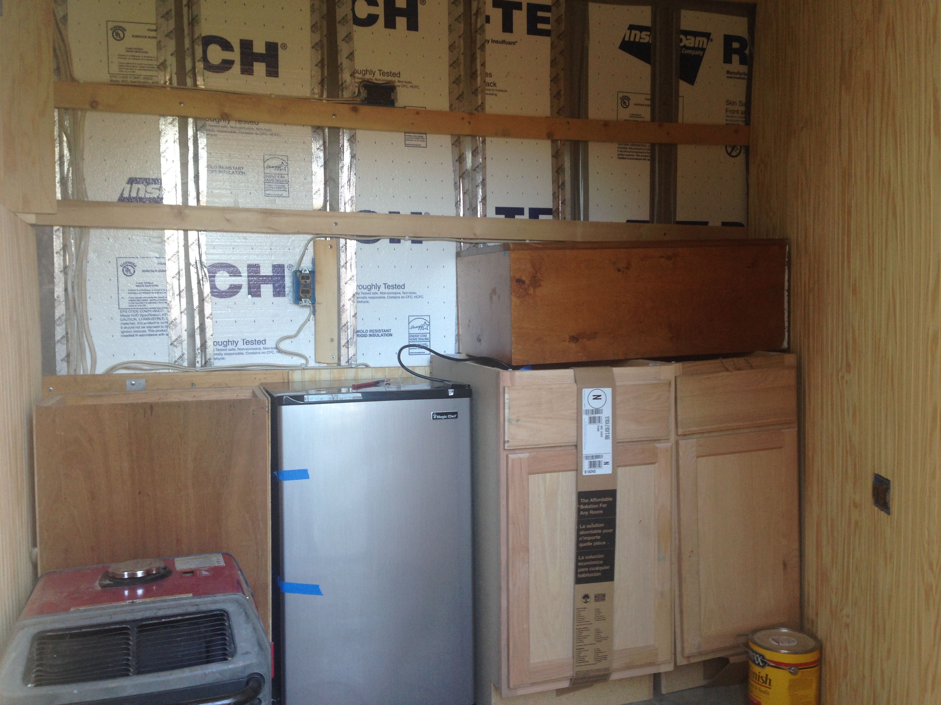 Bought The Fridge On Craigslist Love A Bargain The Darker Cabinets Bought At Habitat For Humanity Are Upper Cabine Trailer Remodel Trailer Diy Stock Trailer