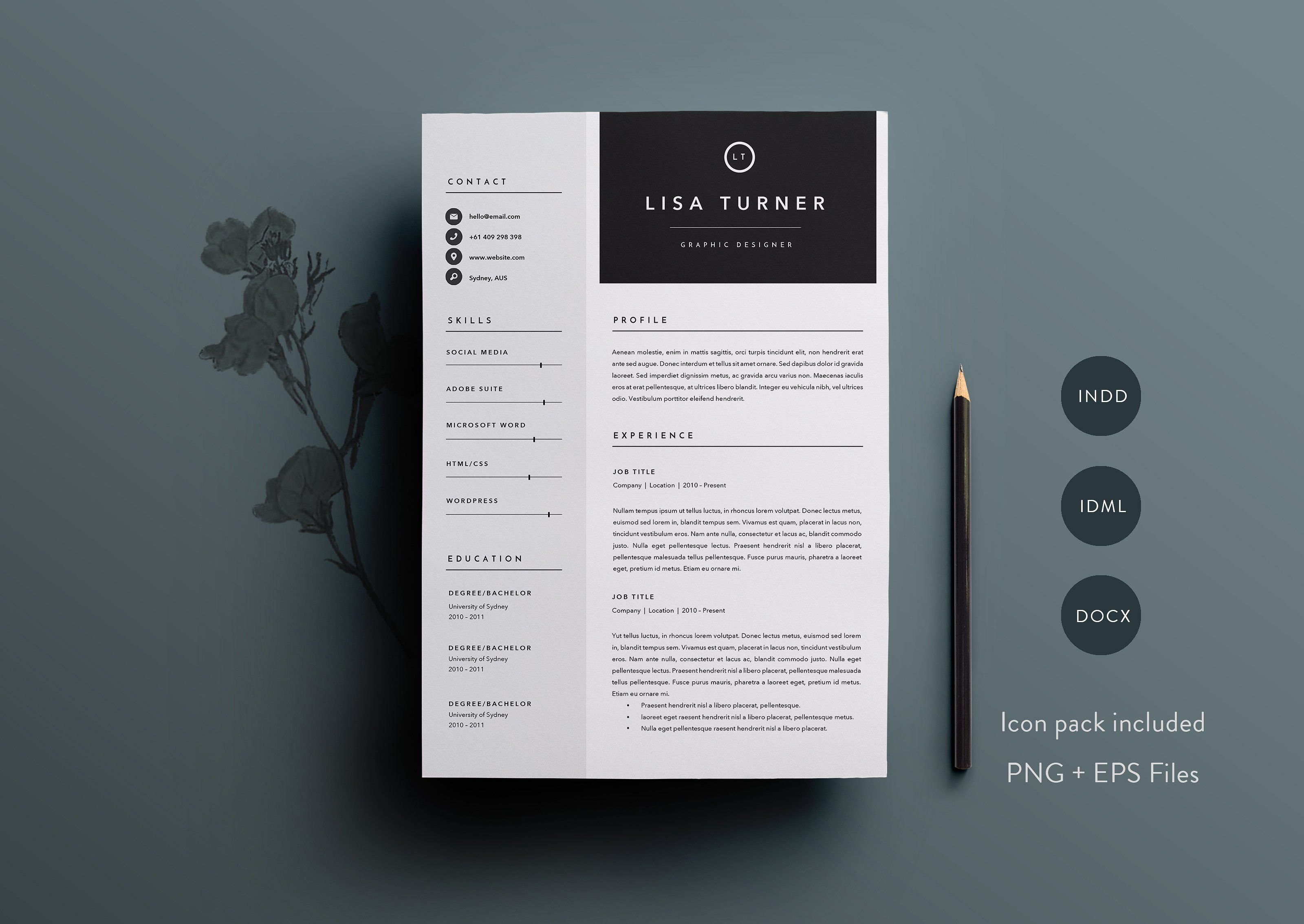 Page Resume Template  Indd  Docx By Basic Creations On