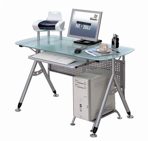 Modern Compact Workstation With Frosted Glass And Steel Home Office Furniture Desk Computer Desk Design Glass Computer Desks
