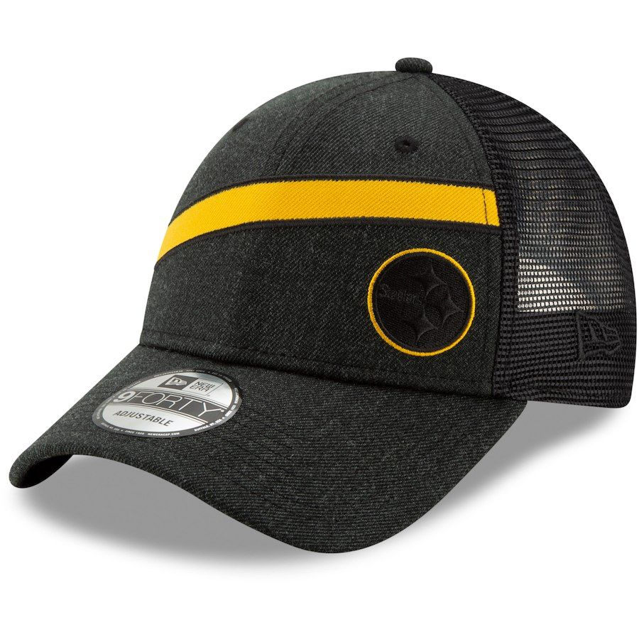 Men s Pittsburgh Steelers New Era Heathered Black Black Label Scale Trucker  9FORTY Snapback Adjustable Hat d21d37985