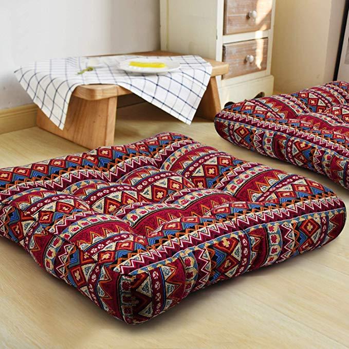 Amazon Com Higogogo Bohemian Floor Pillow Large Mandala Meditation Pillow Square Boho Seat Cushion Indian Y Floor Pillows Meditation Pillow Big Floor Pillows