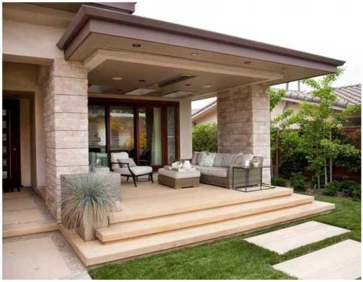Cantik 35 Model Teras Rumah Minimalis Tren 2020 Desain Rumah Sederhana Dengan Biaya Murah Ukuran 5 X In 2020 Porch Design Minimalist House Design Front Porch Design