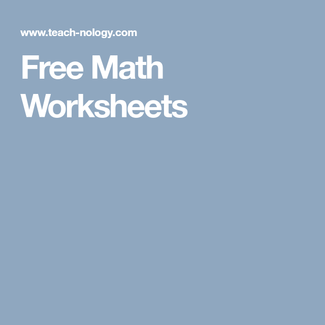 Free Math Worksheets | Homeschool | Pinterest | Free math worksheets ...