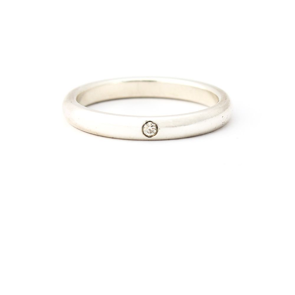 ef21f02d8 Tiffany & Co. Elsa Peretti Band Ring with Diamond in 925 Sterling Silver,  Size 7 #TiffanyCo #Band