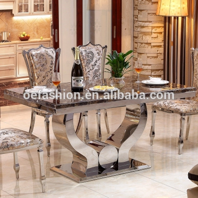 Oe Fashion Marble Dining Table Modern Stainless Steel Dining Table