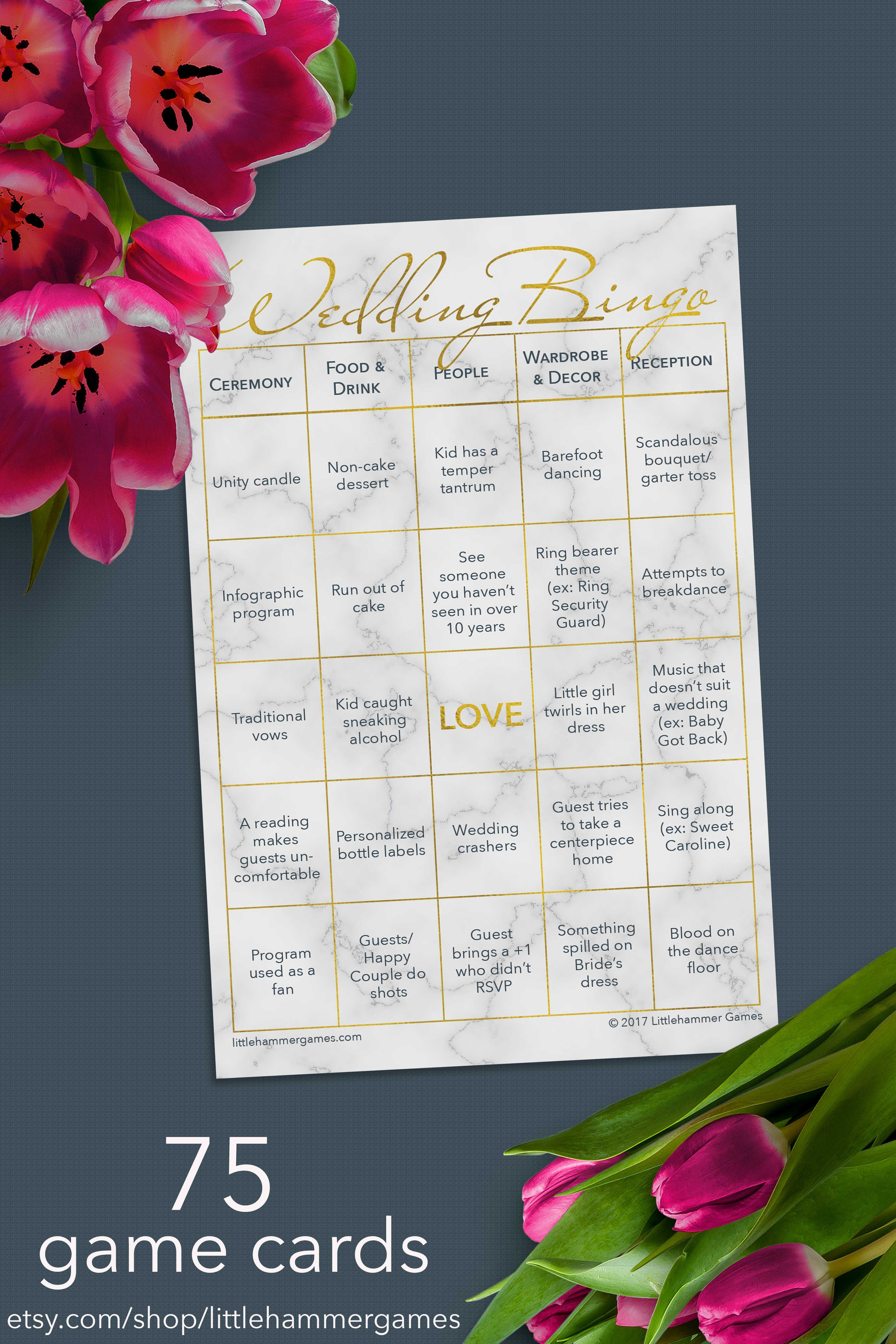 75 printable wedding bingo game cards: the wedding reception game in