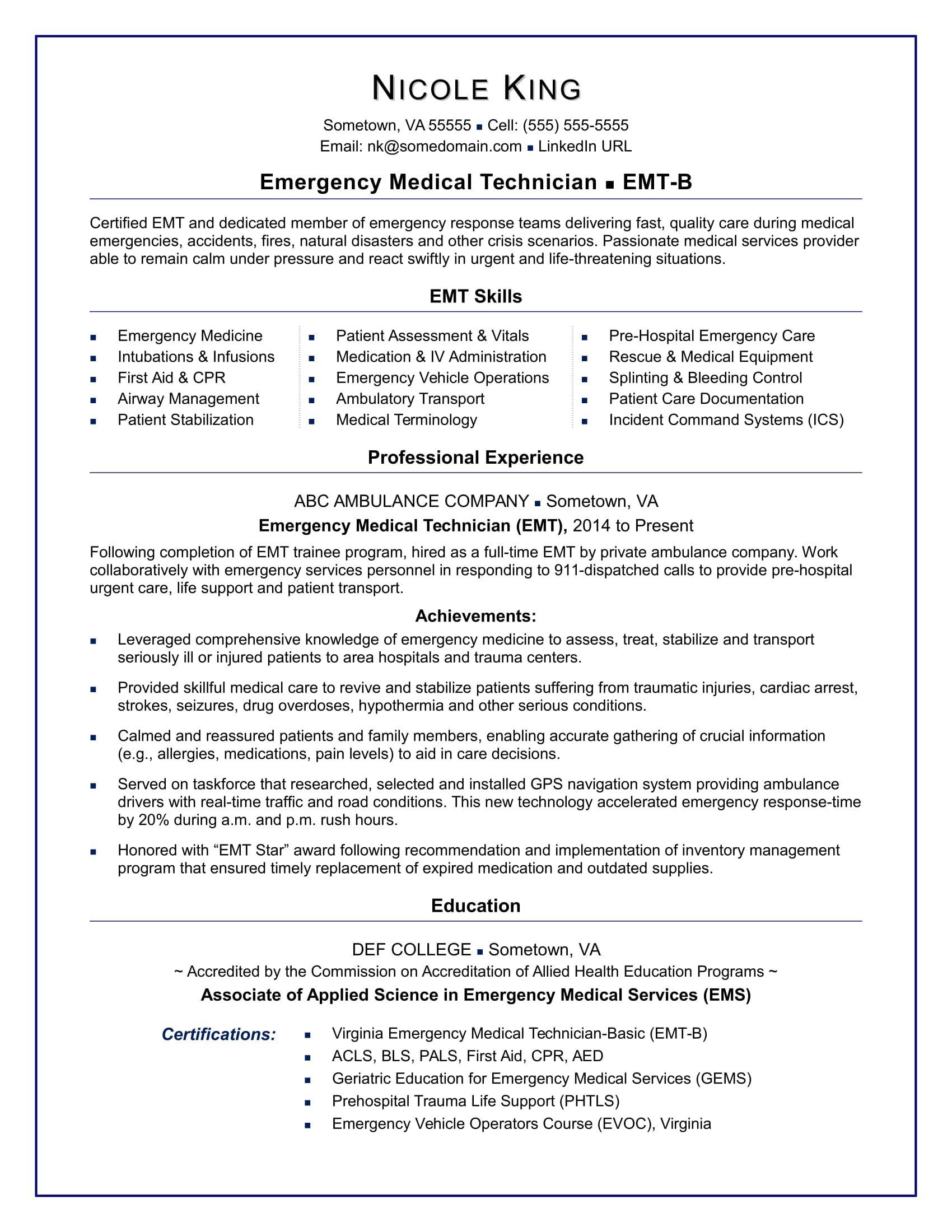 Emt Resume Sample Resume Skills Job Resume Template Resume Examples