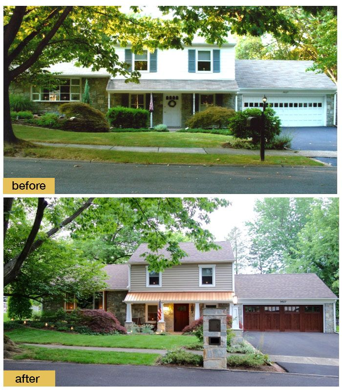 Curb Appeal Update With Clopay Faux Wood Carriage House Garage Door And Craftsman Collection Fiberglass Fro Garage Doors Garage Door Types Garage Door Makeover