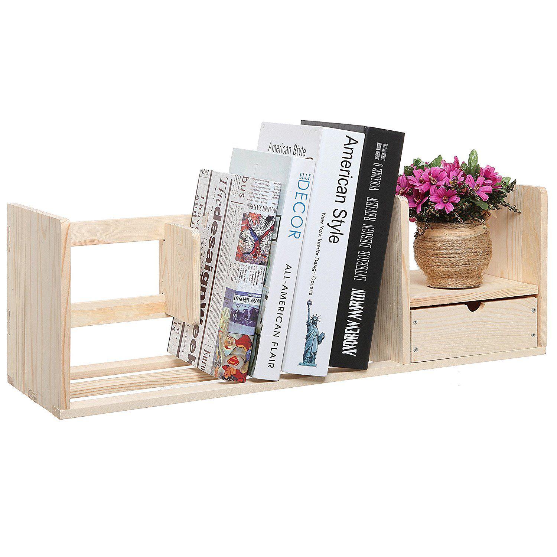 Amazon Natural Unfinished Wood Desktop Bookshelf Organizer Caddy Storage Shelf Rack W Drawer