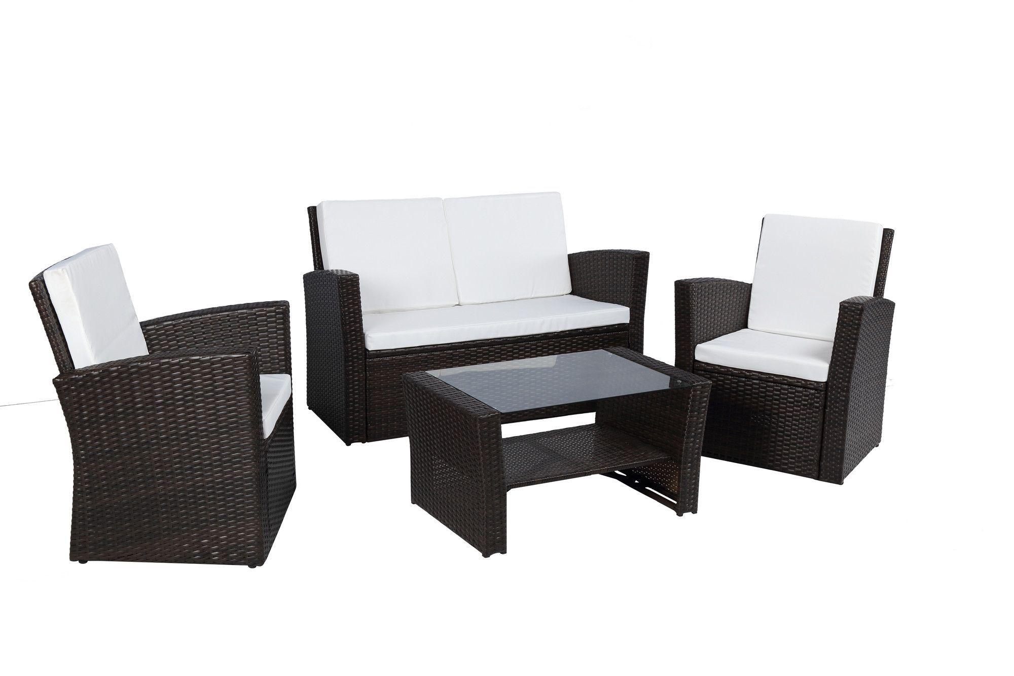 Complete patio pe wicker rattan garden piece deep seating group