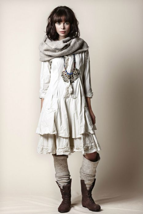 Boots, dress, necklace, and scarf =