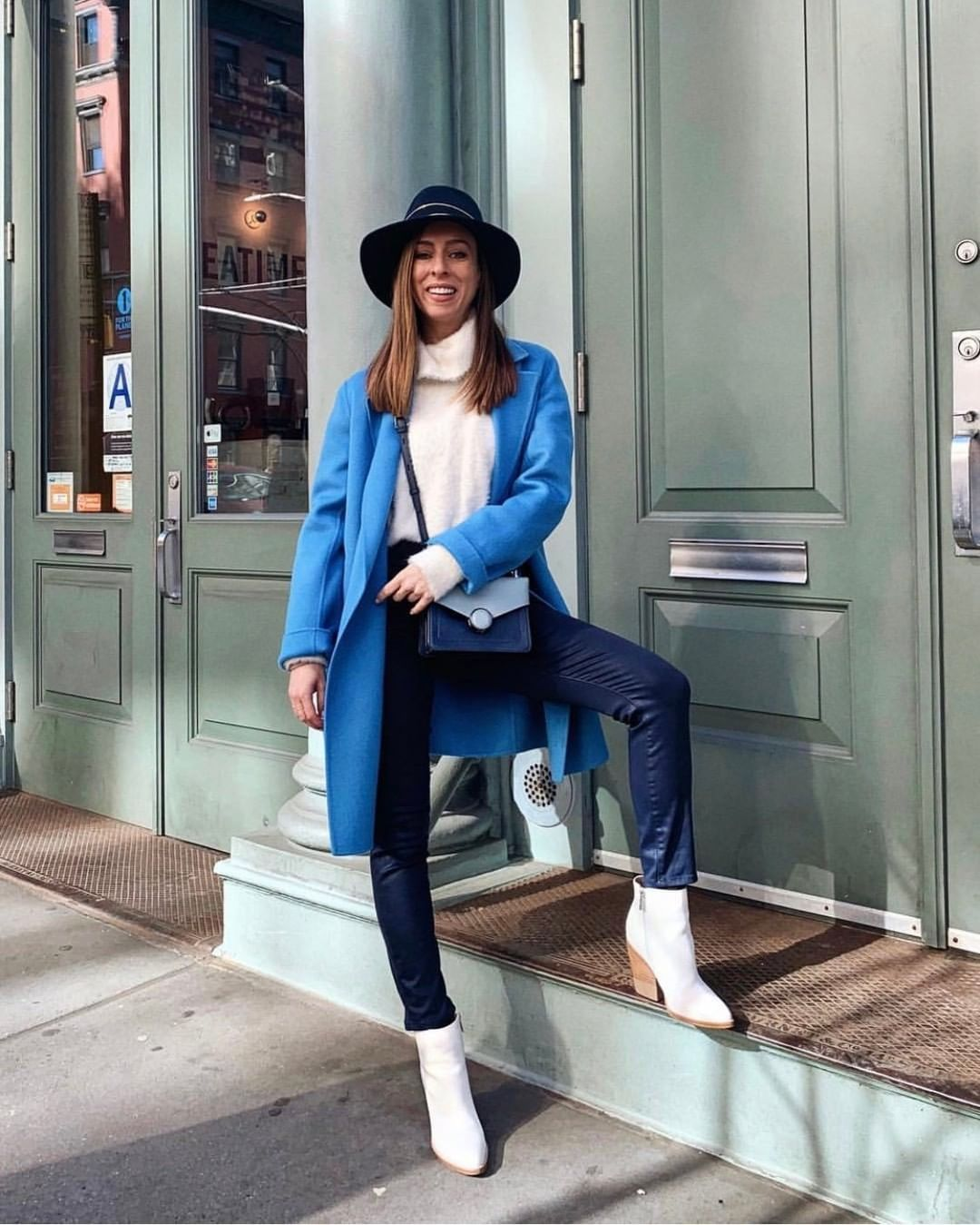 "ff410fa71817 Marc Fisher LTD on Instagram  ""Seen at  NYFW  our white booties paired with  winter blues  Shoe  Bellen   MarcFisherLTD  styleMARC     sydnesummer"""