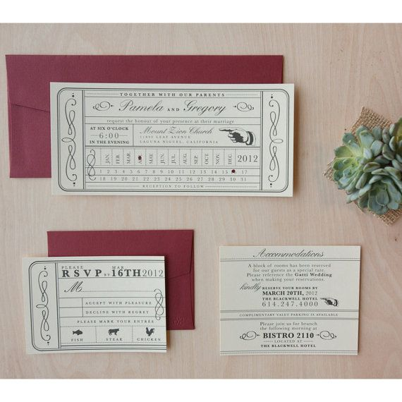 Vintage Ticket Wedding Invitation Punch Card Train Ticket Invite