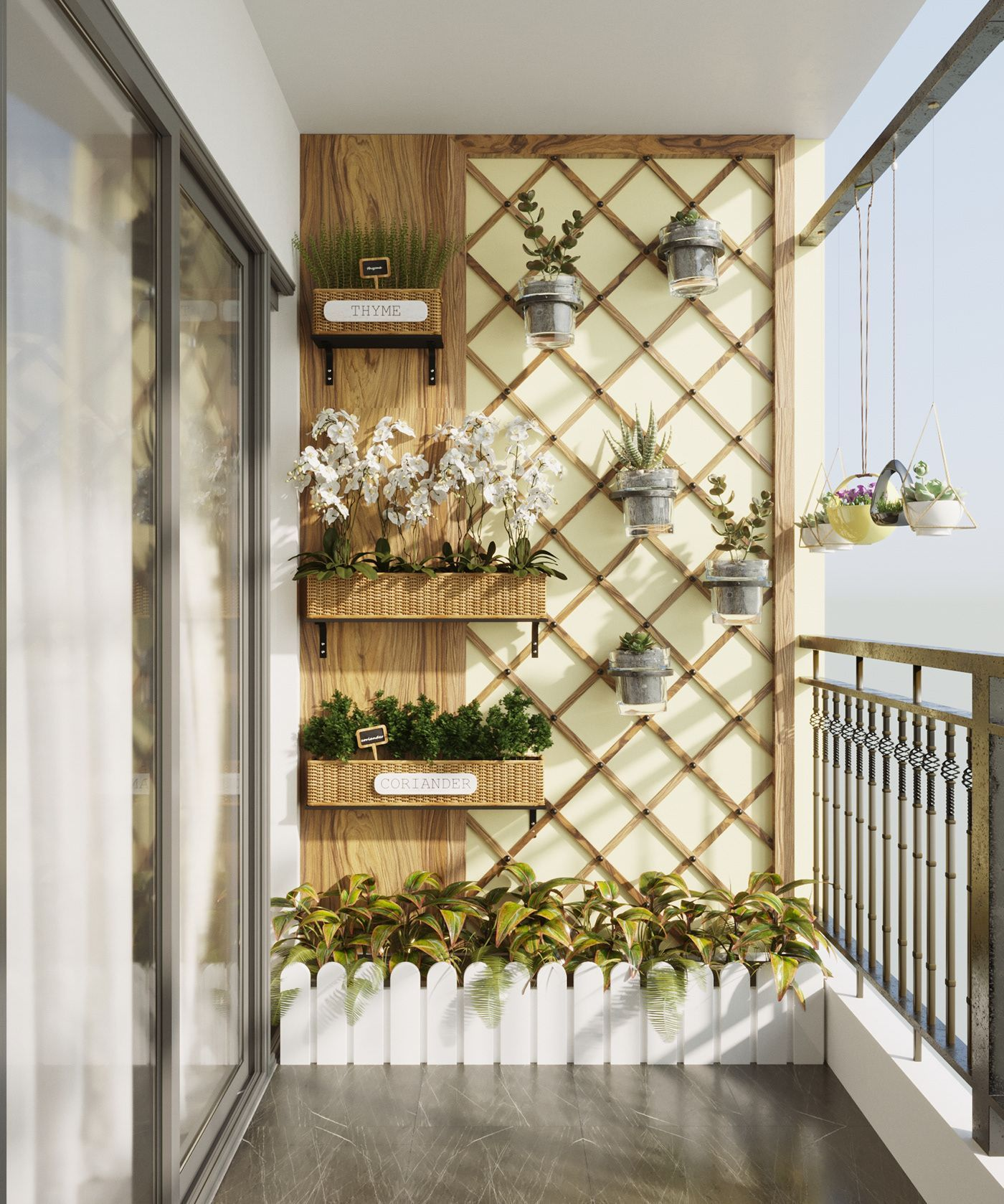 A beautiful balcony with many small fresh tree and gently