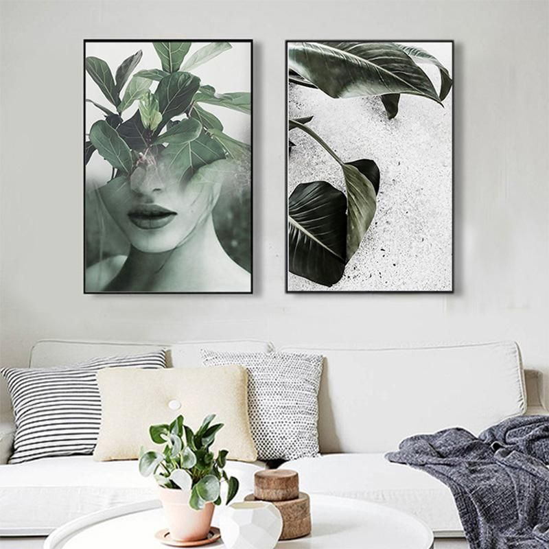Nordic Decoration Art Poster Paintings Leaf Girl Wall Art Canvas Painting Canvas Art Print Posters And Prints Unframed Picture & Nordic Decoration Art Poster Paintings Leaf Girl Wall Art Canvas ...