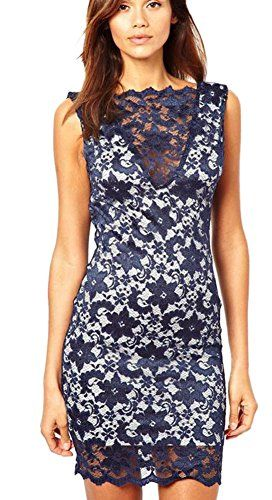 080ce95f7c OUCHI Women Sexy Backless Lace Patchwork Bodycon Dress Sheath Mini Dress  Darkblue   More info could be found at the image url.