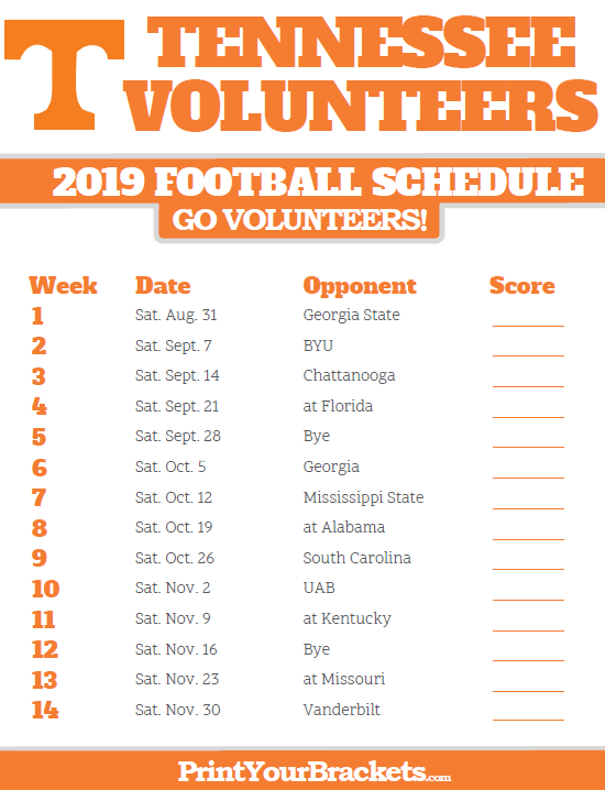 Ut Football 2019 Schedule 2019 Tennessee Volunteers Football Schedule | Printable College
