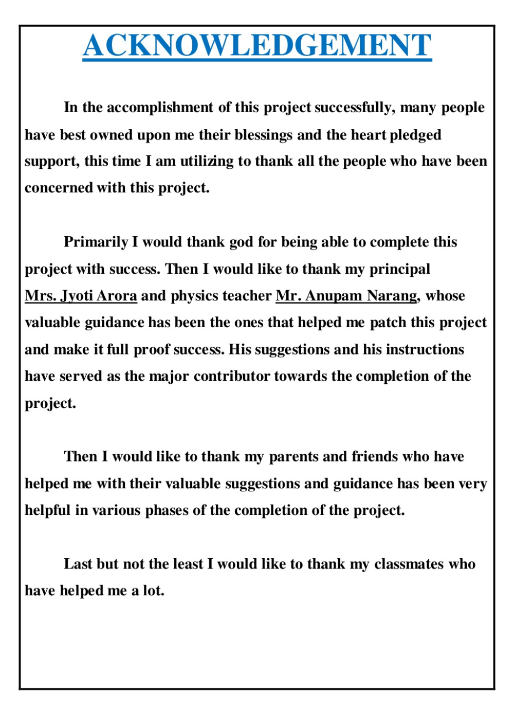 Project Front Page Index Certificate And Acknowledgement Economics Project Acknowledgments For Project Physics Projects