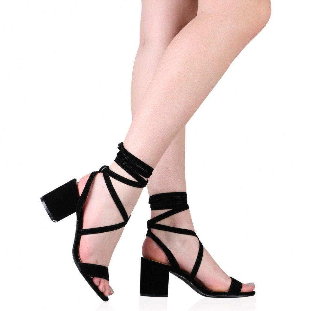 Heeled Sandals in Black Faux Suede