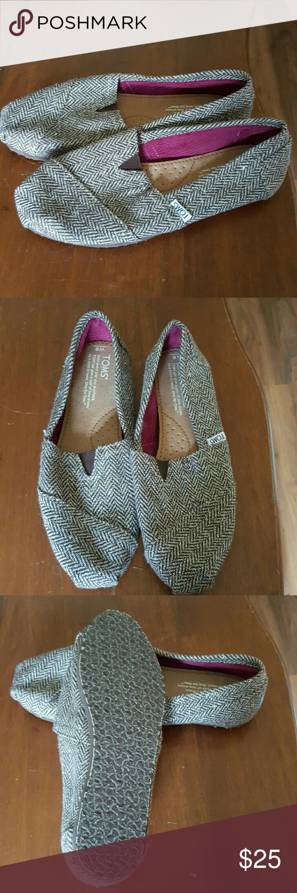 TOMS shoes These cute flats are in excellent condition!! Brown tweed with gold threads. TOMS Shoes Flats & Loafers