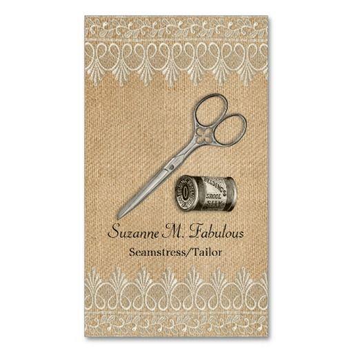 Burlap Lace Vintage Seamstress Tailor Scissors Business Card