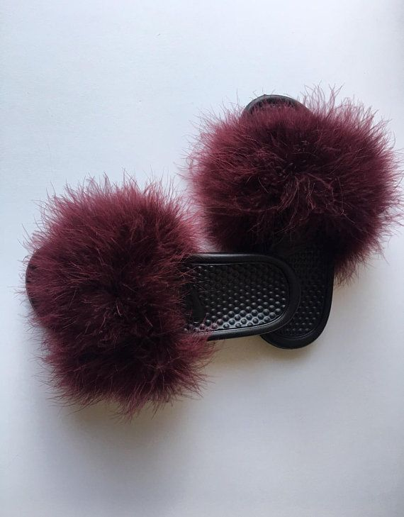 b52501d4e675 Nike Burgundy Wine Fuzzy Fur Slides