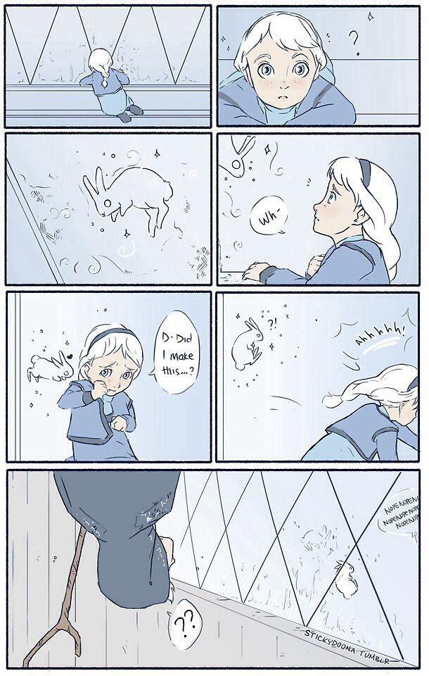Princess Elsa child and the spirit Jack Frost