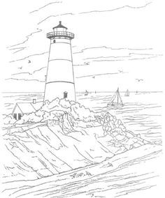 Coloring Pages Lighthouse Printable Craft Adult Landscape Drawing