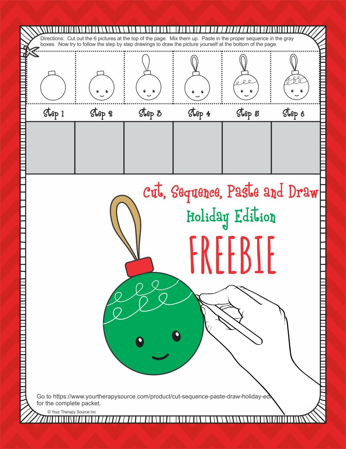 Cut Sequence Paste And Draw Holiday Ornament
