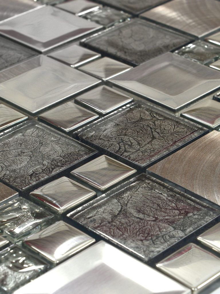 Glass Metal Gray Copper Mosaic Backsplash Tile Copper Mosaic