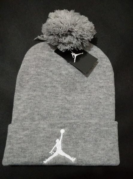 Mens   Womens Air Jordan USA Top Selling White Classic Jumpman Embroidery  Cuffed Knit Pom Beanie Cap - Grey 72fdbb87e254