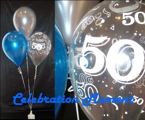 50TH BIRTHDAY Balloon Decoration BLUE AND SILVER Kit L
