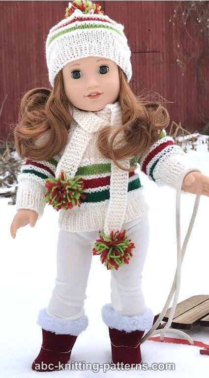 ABC Knitting Patterns - American Girl Doll Winter Sports Set #knitteddollpatterns