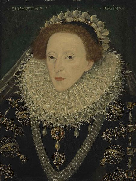 Elizabeth I ;c. 1580. The Queen's sleeves are embroidered with armillary spheres (showing the movement of the stars). The armillary sphere symbolized the Queen's power and her dominion over her subjects.