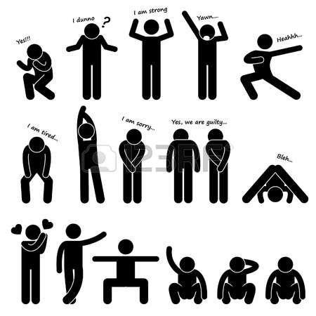 Pictogram Man Man People Person Basic Body Language Posture Stick Figure Pictogram Icon Desain