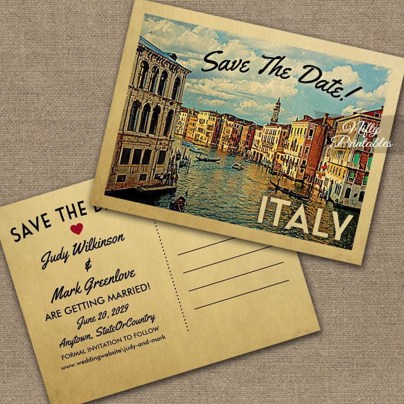 Italy Save The Date Printed Nifty Printables Wedding Saving Vintage Wedding Invitations Italy Wedding