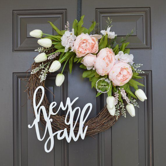 Photo of Hey Y'all Pink, White, and Gold Southern Grapevine Wreath. Cheerful Welcome. Year Round Wreath. Natural Wood Sign. Home Decor. Blush Foliage