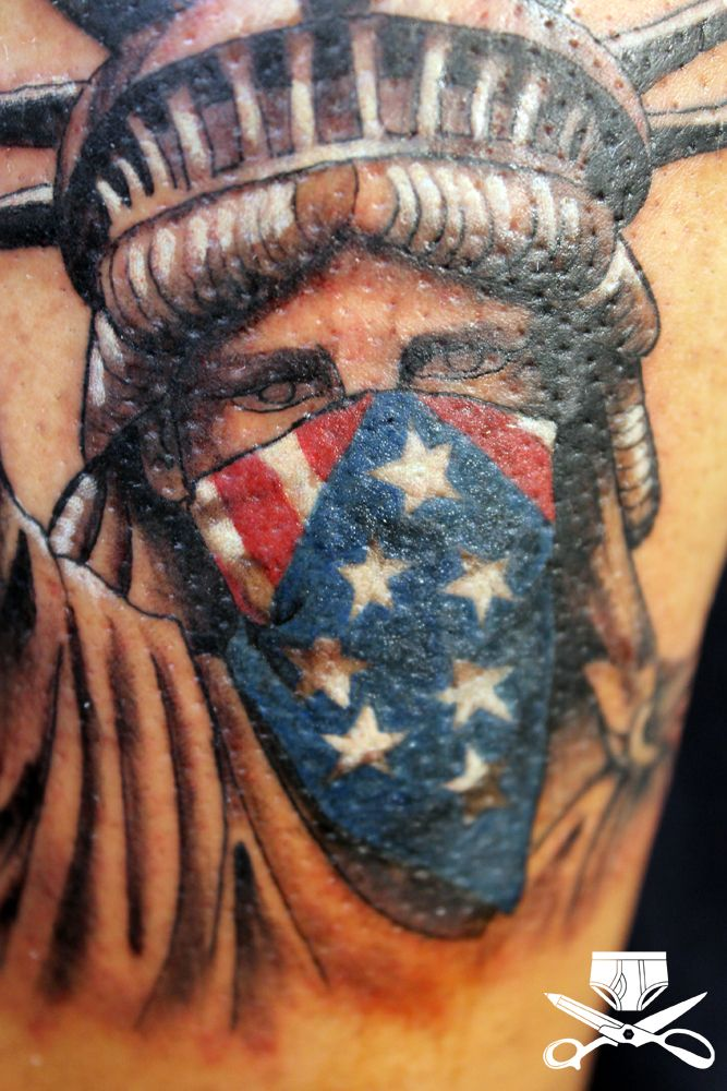 Skull With Bandana Over Face Tattoo Thug Liberty Close 2