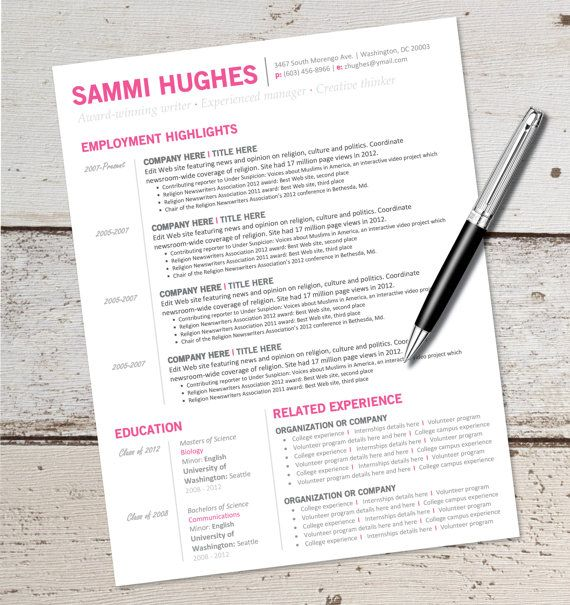this is for an instant download word document editable resume template for this type