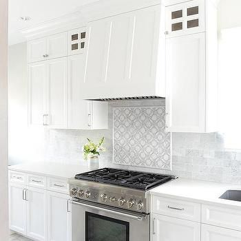 White And Gray Mosaic Stove Backsplash Kitchen In 2019 Stove