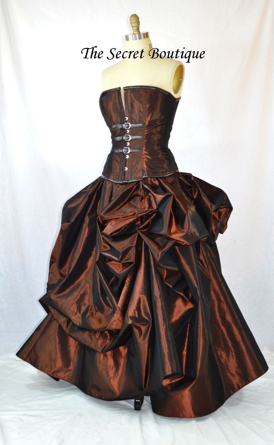 Steampunk wedding gown, copper bustle gown with steel boned corset ...