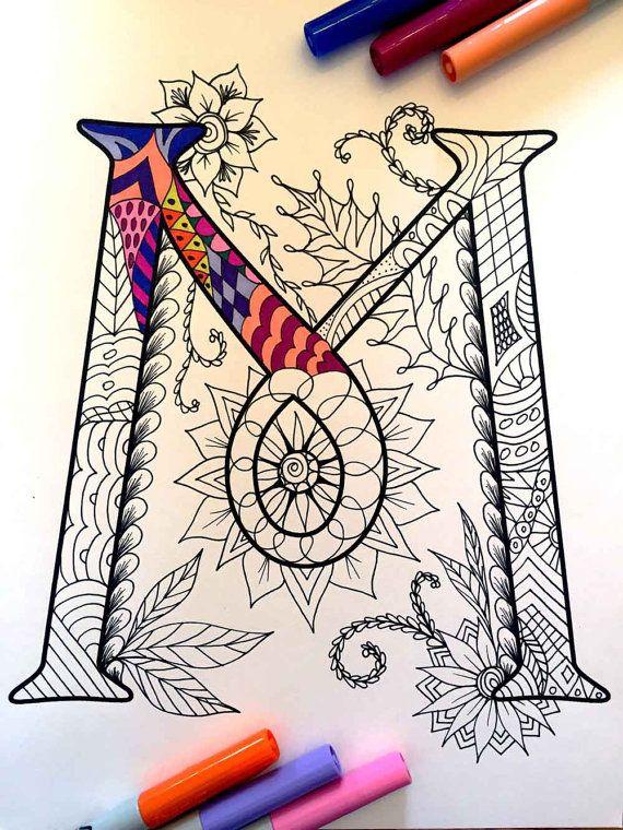 Letra M Zentangle Inspirado En La Fuente Por Djpenscript En Etsy Más