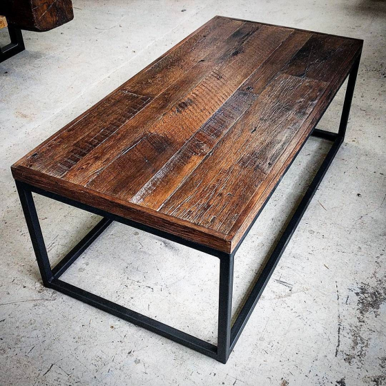 Reclaimed barn board coffee table just completed for a client.  This is a nice dark stained top with lots of saw marks and character.  It is on a black steel frame for that rustic industrial look.  Come in to our Hamilton Durham Region or Toronto shops to have a custom furniture piece made for you home cottage or business.  #coffeetable #barnboard #barnwood #barn #reclaimed #reclaimedwood #rustic #rusticwood #igers #toronto #hamilton #hamont #tdot #the6ix #durhamregion #durham #pickering #ajax #