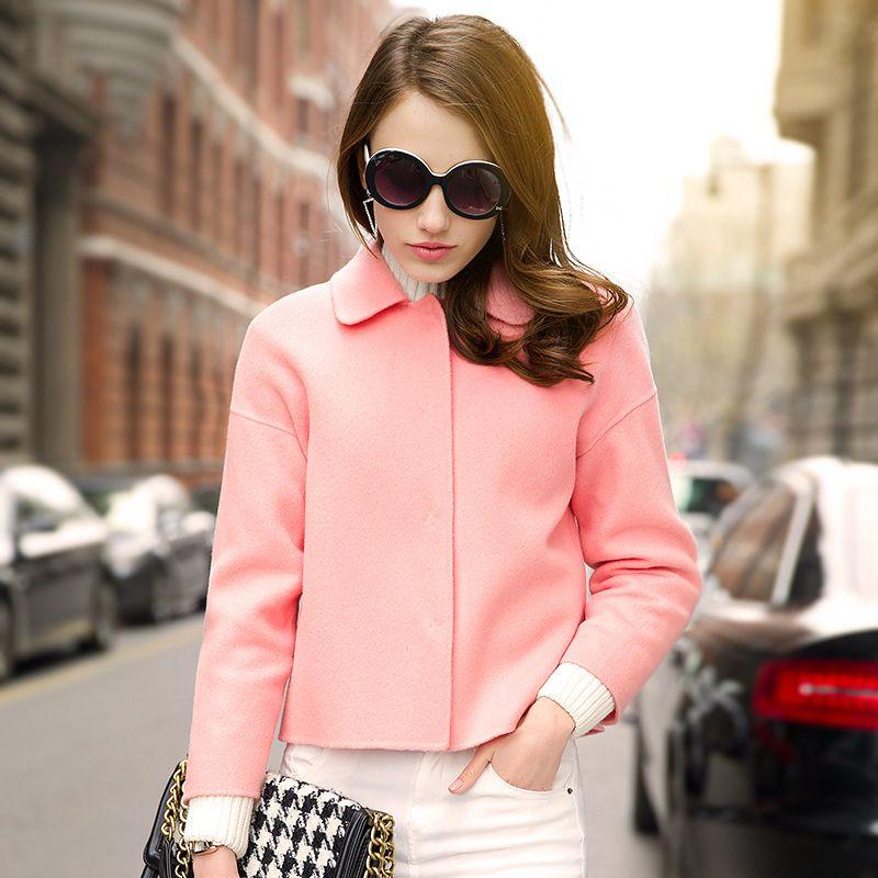 2015 spring new high-end handmade wool fleece coat woolen coat female short USD$249.75