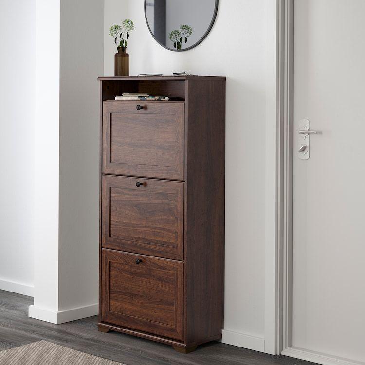 Brusali Scarpiera A 3 Scomparti Marrone 61x130 Cm Ikea It In 2020 Ikea Brusali Ikea Shoe Cabinet Shoe Cabinet