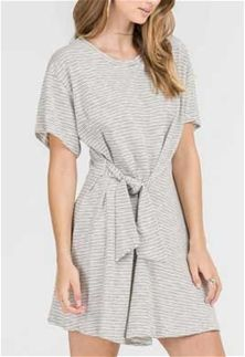 6e52a903091b Lush Clothing Short Sleeve Stripe Tie Front Dress in Ivory and Black DR95245
