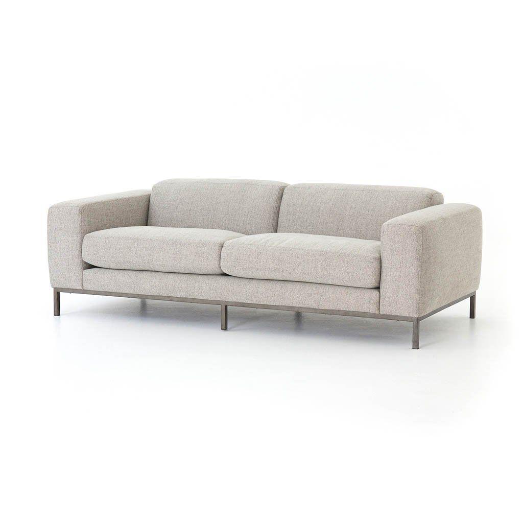 Benedict Modern Upholstered Sofa Gabardine Grey Best Leather