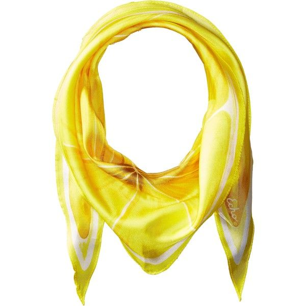 Echo Design Slice O'Fruit Silk Diamond Scarf (Lemon) ($39) ❤ liked on Polyvore featuring accessories, scarves, echo design, pure silk scarves, print scarves, silk shawl and silk scarves