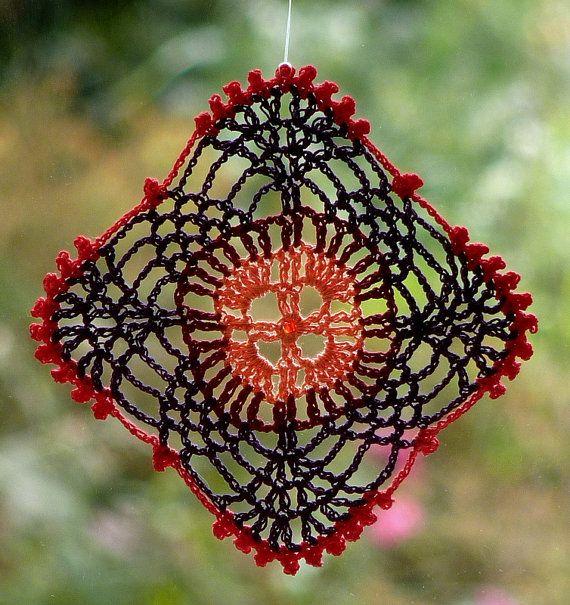 Dreamcatcher doily crochet lace square hanger peach red violet coral colors. $10,00, via Etsy.